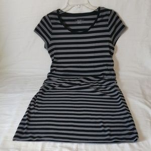 Liz Lange Black & Gray Striped T-Shirt Dress